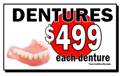 Dentures from $499 each denture